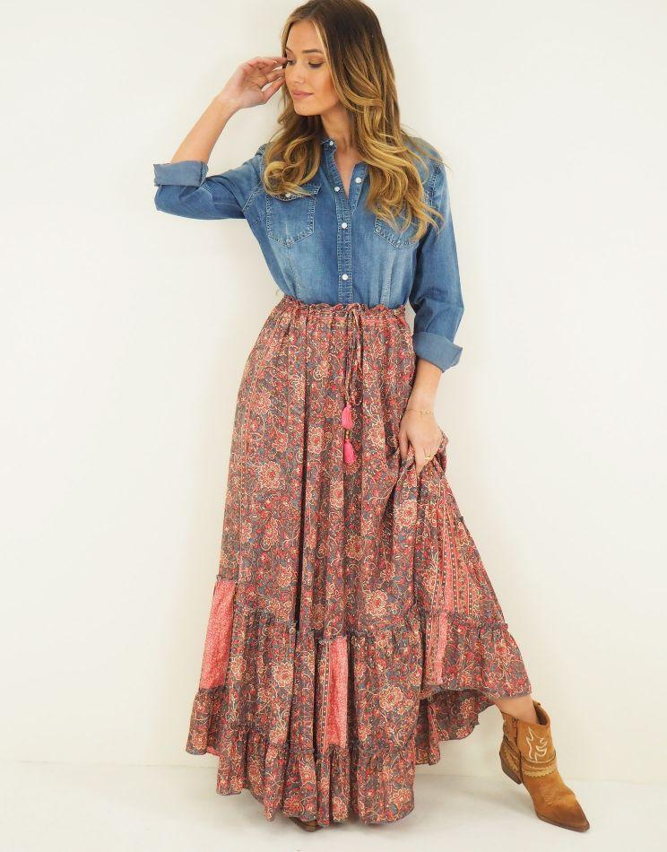 Silk Bohemian Skirt -...