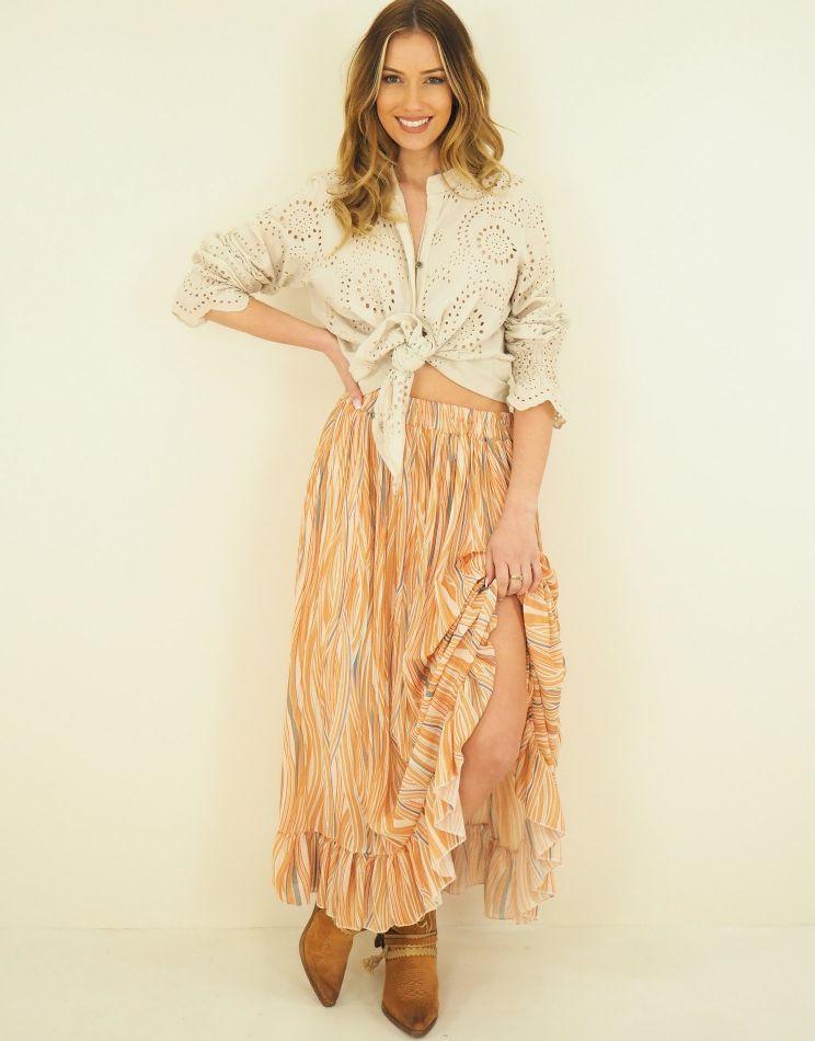 Printed Skirt - Ruffle...