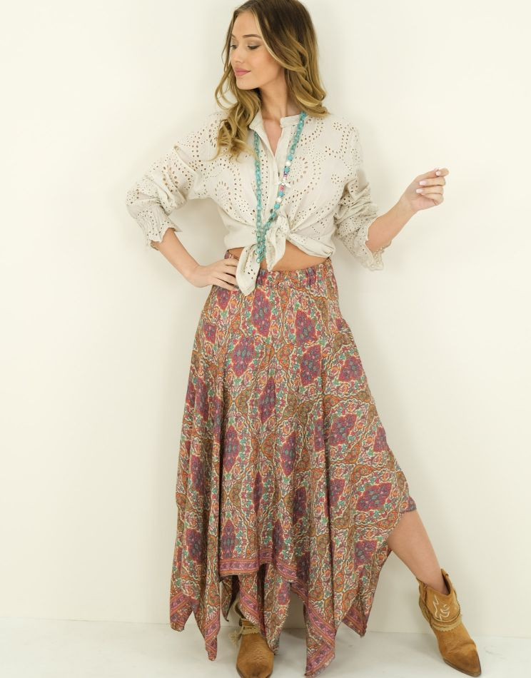 Asymmetric Silk Skirt I...
