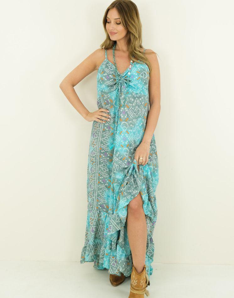 Silk Dress - Ruffle Bottom,...