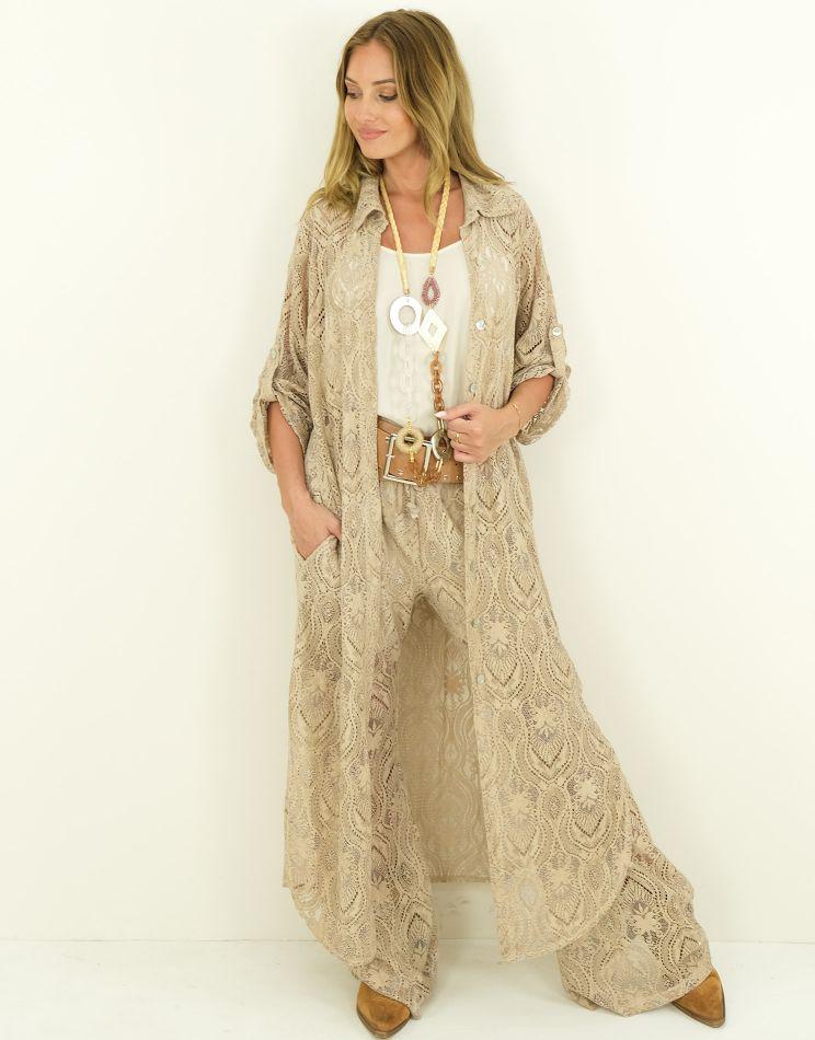 Lace Vest Dress - Buttons +...