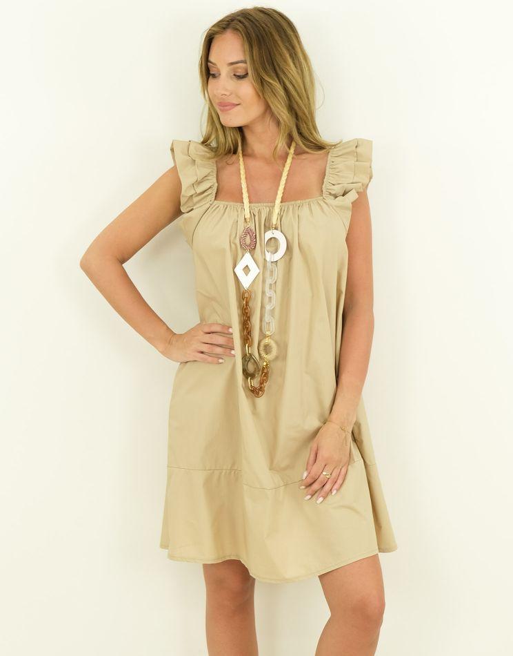Cotton Dress - Ruffle...