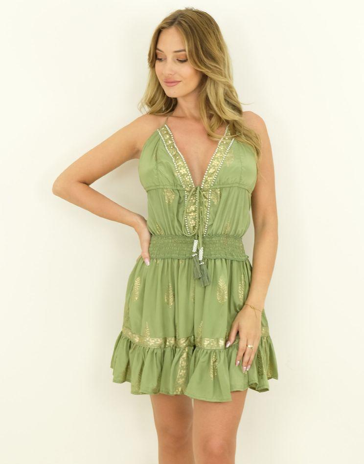 Silk Dress - Beaded Collar...