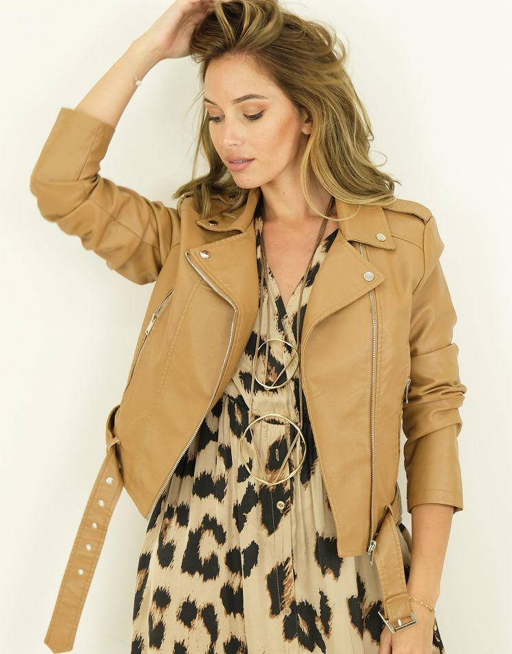 Leather Look Jacket - Zip +...